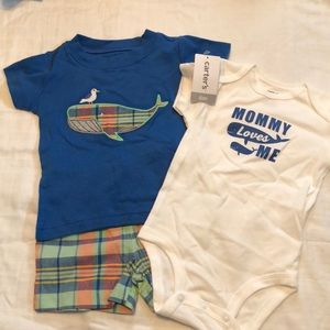 Baby boy whale outfit bundle